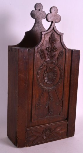 An Early 19th Century Carved Wood Candle Box The Front
