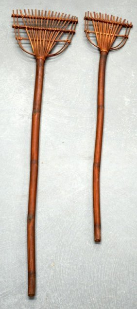 A Pair Of Mid 20th Century Bamboo Strap Work Forks. 5ft