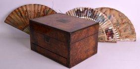 A Victorian Burr Walnut Gentlemans Writing Box Together