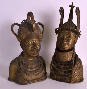A Pair Of African Bronze Busts Depicting Oba Eweka I &
