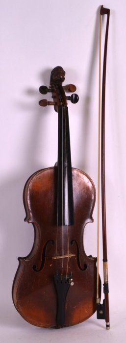 An Antique Violin With Unusual Scrolling Lion Head