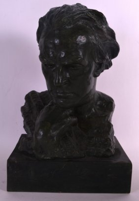 A Painted Terracotta Bust Of Hector Berlioz. 1ft 5ins