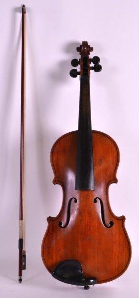A Cased Violin Bearing Label To Interior (antonius