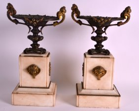 A Pair Of 19th Century French Bronze And Marble Urns