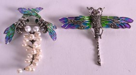 Two Silver And Enamel Bug Brooches. (2)