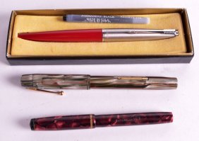 A Watermans Marble Effect Fountain Pen Together With A