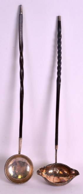 Two George Iii Silver Toddy Ladles With Twist Handles.