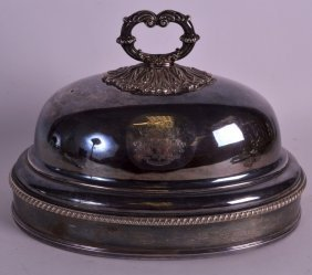 A Victorian Silver Plated Tureen Cover With Central