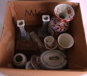 Two Boxes Of Assorted China Include An Imari Vase,