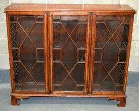 A Mid 19th Century Mahogany Bookcase With Triple Glazed