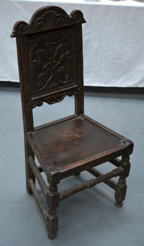 A 17th/18th Century English Oak Hall/side Chair With