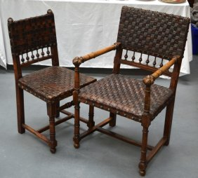 An Arts And Crafts Leather And Brass Studwork Chair