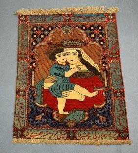 An Unusual Madonna And Child Small Rug Within A Border