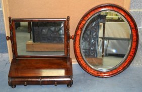 A Mahogany Console Table Together With A Toilet Mirror.