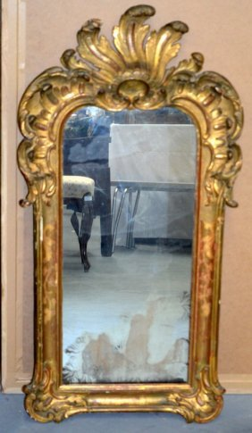 A Late 18th/19th Century Italian Carved Giltwood Mirror