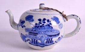 A Chinese Qing Dynasty Blue And White Teapot And Cover