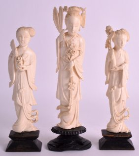 A Pair Of Early 20th Century Chinese Carved Ivory