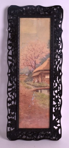 A 19th Century Chinese Carved Wood Hongmu Frame