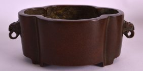 A Chinese Twin Handled Bronze Censer 20th Century,