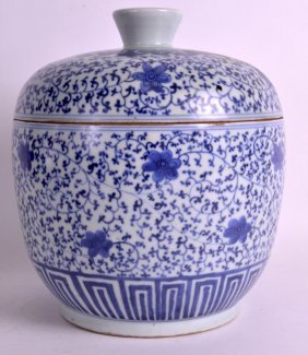 A 19th Century Chinese Blue And White Bowl And Cover