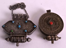 An Early 20th Century Tibetan Silver Pendant Inset With
