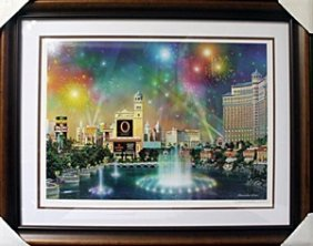 "Lithograph ""las Vegas Evening"" By Alexander Chen"