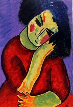 Ms Donna 1918' - Oil On Paper - Alexej Von Jawlensky