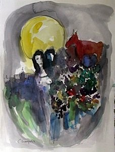 Watercolor On Paper, Signed Chagall