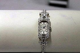 Beautiful Antique Diamonds & Baguettes Platinum Watch