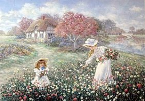 "Lithograph ""rose Garden"" After Lee Dubin"