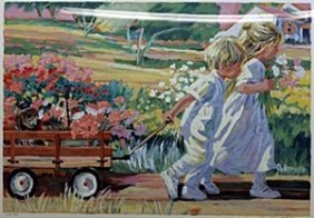 "Serigraph ""wagon Ride"" After Corinne Hartley"