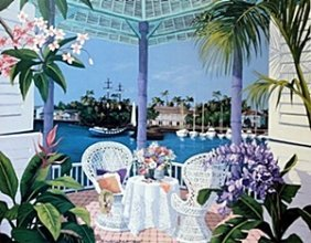 "Offset Lithograph ""tropical Hideaway"" After Sharie H."