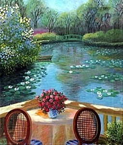 """Giclee """"the Monet's Giverny Garden"""" After Alain Bonnec"""