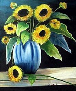 "Oil ""sunflowers In A Blue Vase"" By Marilene Ricards"
