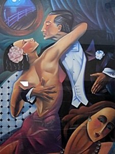 """Lithograph """"dancers (tango)"""" After Ted Young"""