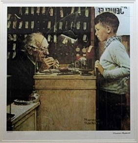 """Lithograph """"the Watchmaker"""" After Norman Rockwell"""