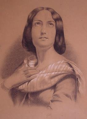 American Victorian Lady Drawing Portrait