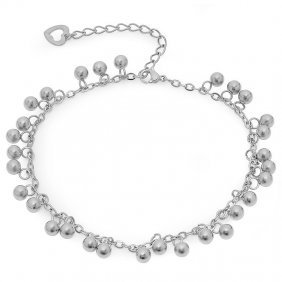 Stainless Steel Anklet Or Bracelet With Ball And Heart