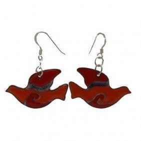 Red Enamel On Copper Peace Dove Earrings - Chilean