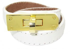While Leather Bracelet Accented In Gold Wholesale Jewel