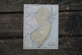 Genuine Authentic 1930 Map Of New Jersey