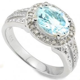 Genuine 2.29 Ctw Blue Topaz And Diamond Platinum Plated