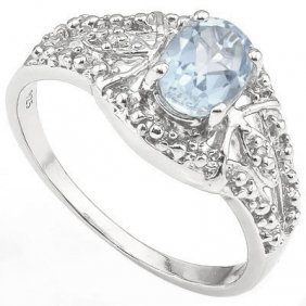 Genuine .43 Ctw Aquamarine And Diamond Platinum Plated