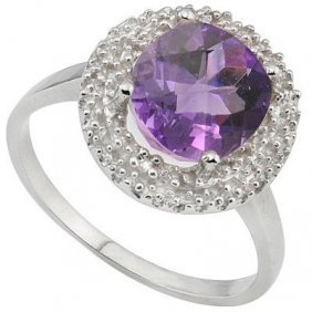 Genuine 2.29 Ctw Amethyst And Diamond Platinum Plated .