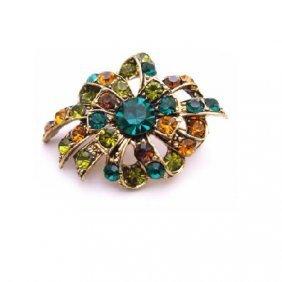 Multicolored Brooch Emerald Olivine Topaz Crystals Anti