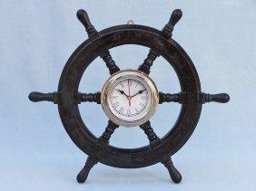 "Shisham Wood And Chrome Pirates 18"" Ship Wheel Clock"