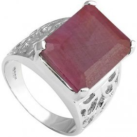 Genuine 10 Ctw Ruby Pltinum Plated .925 Sterling Silver