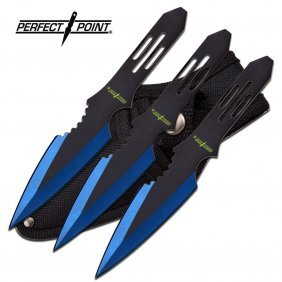 """5.5"""" Stainless Steel Blue And Black Blade Throwing Kniv"""
