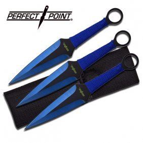 "9"" Black And Blue Throwing Knives"