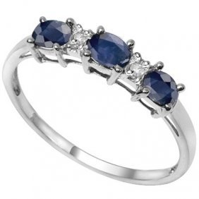 Genuine 2.00 Ctw Sapphire And Diamond Platinum Plated .
